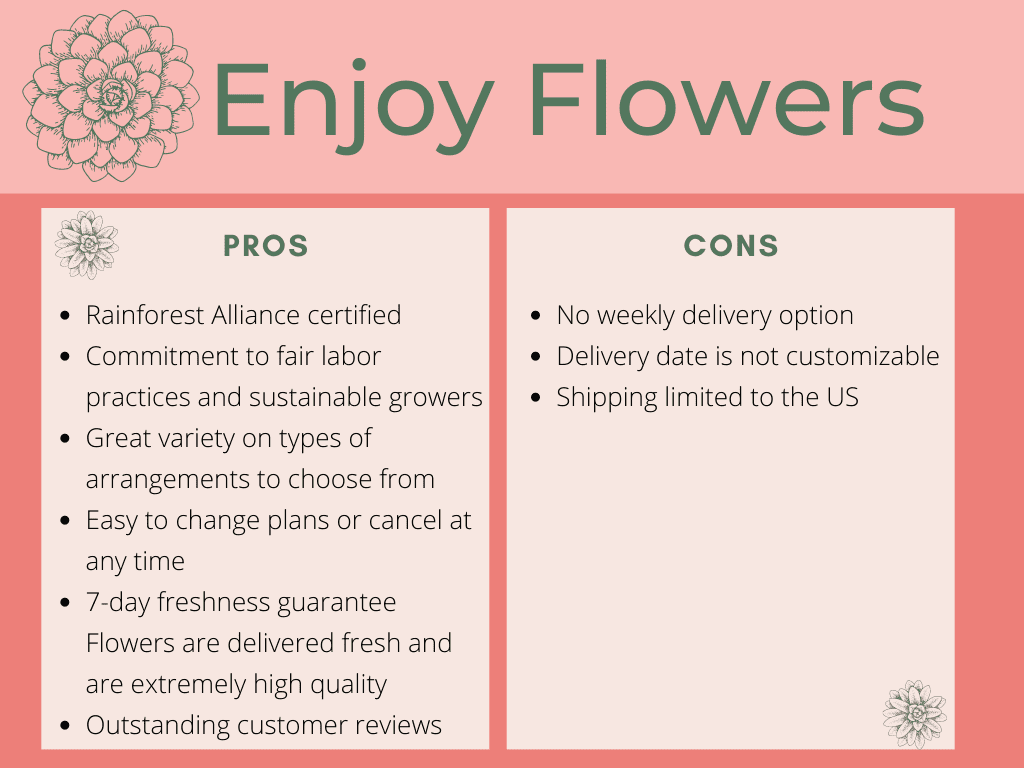 Enjoy Flowers pros and cons